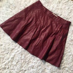 Abercrombie & Fitch Pleather Burgundy Skater Skirt